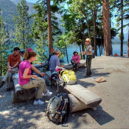 Park Ranger talking to hikers | Plan Your Trip | North Cascades Lodge at Stehekin